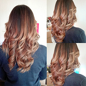wavy hair couleur marron chaud ombrée