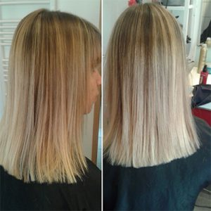 coupe carré long balayage blond clair